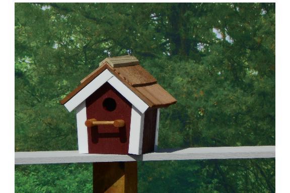 Cedar Roof Birdhouse - Red & White