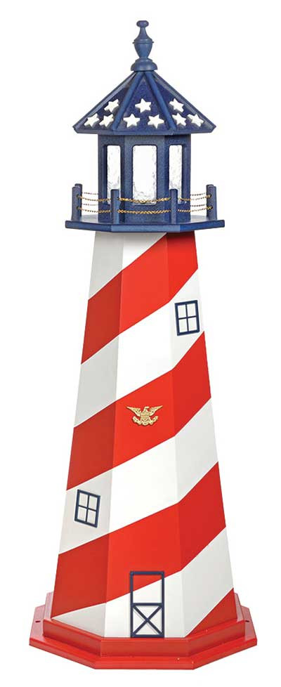 5' Amish Crafted Wood Garden Lighthouse - Cape Hatteras
