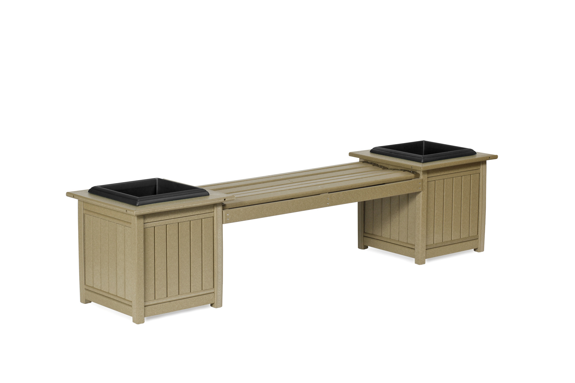 Poly Planter Bench - Weatherwood