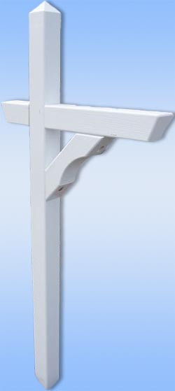 Pressure Treated Pine Mailbox Post  - Shown in White