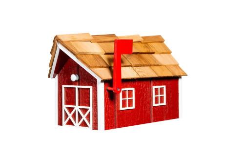 Wooden Barn Mailbox w/ Cedar Shake Roof - Cardinal Red & White