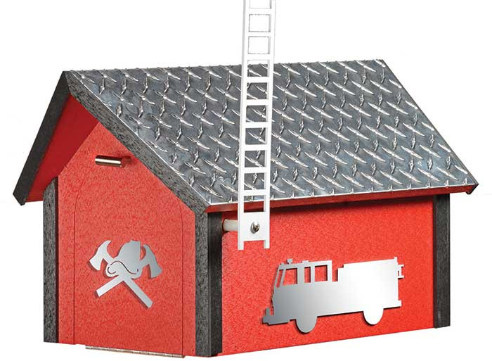 Deluxe Poly Fire Dept. Mailbox w/ Aluminum Plate Roof - Cardinal Red & Black