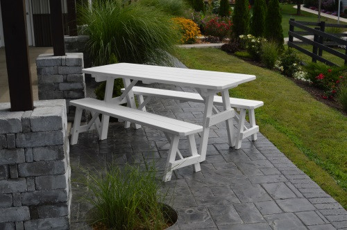 6' Traditional Yellow Pine Picnic Table w/ 2 Benches - White