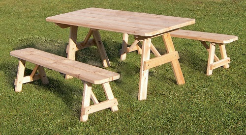 6' Cedar Traditional Picnic Table w/ 2 Benches - Unfinished
