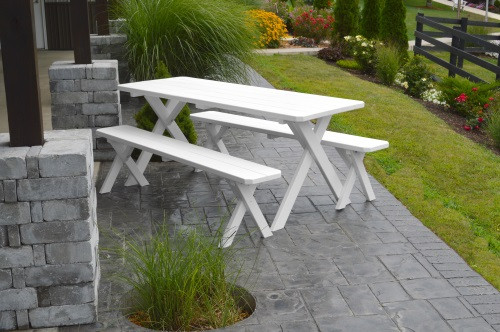 8' Crosslegged Yellow Pine Picnic Table w/ 2 Benches - White