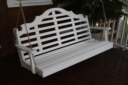 6' Marlboro Yellow Pine Porch Swing - Shown in White