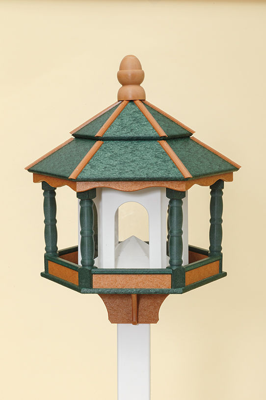 Large Hexagon Polywood Bird Feeder - Green/Cedar/White