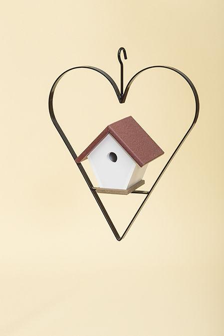 Polywood Wren House with Heart - Cherry/Weatherwood
