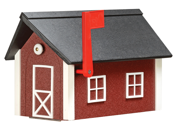 Deluxe Standard Poly Barn Mailbox - Cherrywood & White - Black Roof