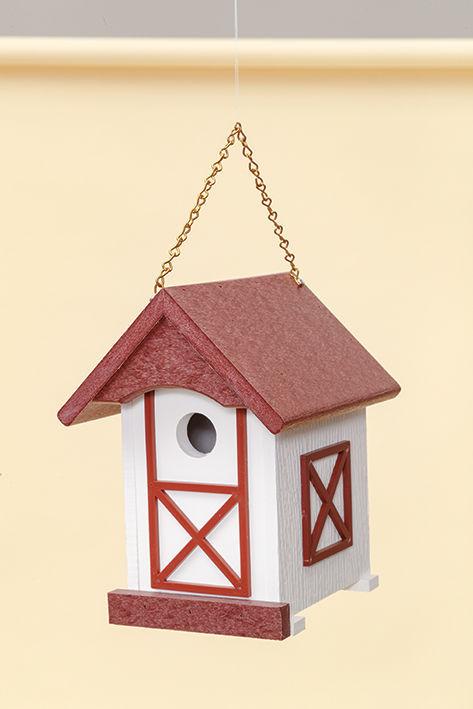 Polywood Barn Wren House - Cherry/White