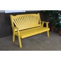 4' Fanback Yellow Pine Garden Bench