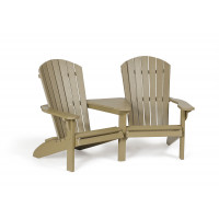 Poly Fan Back Settee - Weatherwood