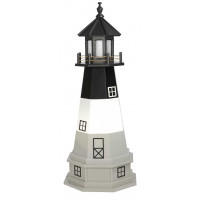 4' Amish Crafted Hybrid Garden Lighthouse - Oak Island - Black, White & Grey