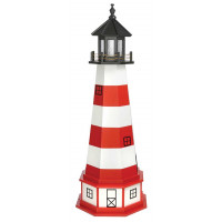 5' Amish Crafted Hybrid Garden Lighthouse - Assateague - Cardinal Red & White