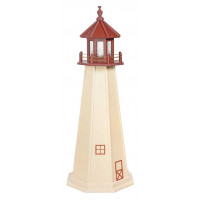 5' Amish Crafted Wood Garden Lighthouse - Cape May  - Ivory & Cherrywood