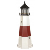6' Amish Crafted Wood Garden Lighthouse - Montauk - White & Cherrywood
