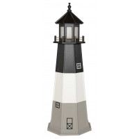 6' Amish Crafted Wood Garden Lighthouse w/ Base - Oak Island - Black, White & Light Grey