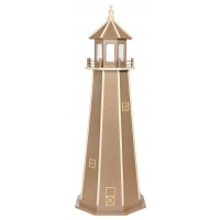 6' Amish Crafted Wood Garden Lighthouse - Custom Painted - Weatherwood & Ivory
