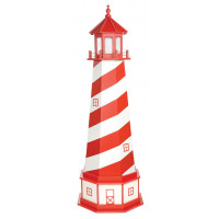 6' Amish Crafted Hybrid Garden Lighthouse - White Shoal - Cardinal Red & White