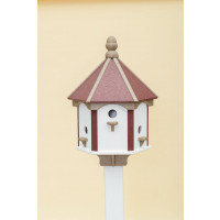 6 Hole Polywood Birdhouse - Cherry/WR/White Walls
