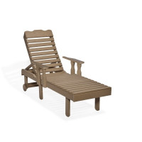 Poly Chaise Lounge with Arms - Weatherwood