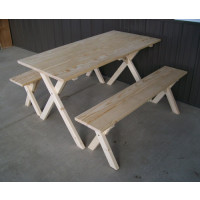 5' Crosslegged Yellow Pine Economy Picnic Table w/ 2 Benches - Unfinished