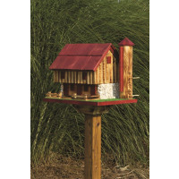 Barn Bird Feeder with Silo