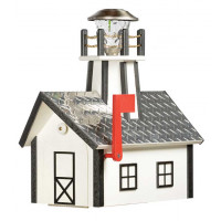 Deluxe Poly Lighthouse Mailbox w/ Aluminum Diamond Plate Roof - Whie & Black