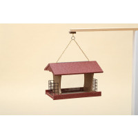 Large Polywood Rectangular Bird Feeder - Cherry/Weatherwood - Hanging