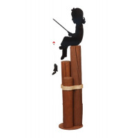 Fishing Girl Decorative Pier Post