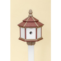 3 Hole Hexagon Polywood Birdhouse - Cherry/Weatherwood/White - Post Mount