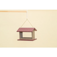 Small Hanging Rectangle Bird Feeder - Poly -Shown in Cherry & Weatherwood