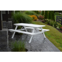 8' Yellow Pine Picnic Table w/ Attached Benches - White