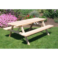 6' Cedar Picnic Table w/ Attached Benches - Unfinished