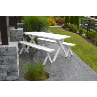 6' Crosslegged Yellow Pine Picnic Table w/ 2 Benches - White