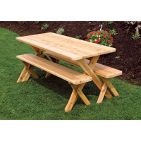 8' Cedar Crosslegged Picnic Table w/ 2 Benches - Unfinished