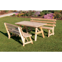 5' Cedar Traditional Table w/ 2 Backed Benches - Unfinished