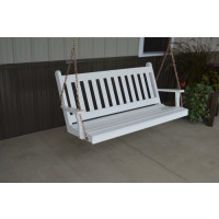 4' Traditional English Yellow Pine Porch Swing - Shown in White.