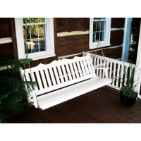 4' Royal English Garden Yellow Pine Porch Swing - White