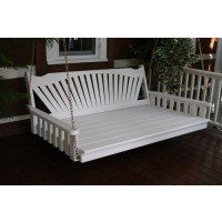 6' Fanback Yellow Pine Swingbed - White
