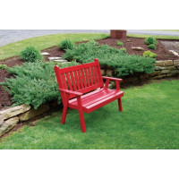 5' Traditional English Yellow Pine Garden Bench - Tractor Red