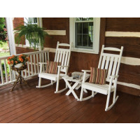 Classic Yellow Pine Porch Rocker - White w/ Cushions