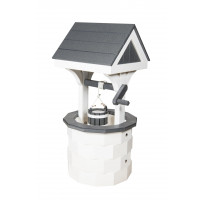 Small Poly Wood Wishing Well - White & Dark Gray
