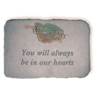 You Will Always be in our Hearts Decorative Garden Stone w/ Trumpeting Angel