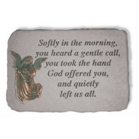 Softly in the morning Memorial Garden Stone w/ Angel