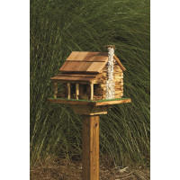 Log Cabin With Rock Chimney Bird Feeder