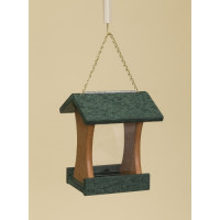 Poly Wood Mini Bird Feeder - Green Roof & Floor/Cedar Side Walls