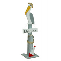Pelican Decorative Pier Post w/ Welcome Sign
