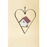 Polywood Wren House with Heart - Cherry/Weatherwood