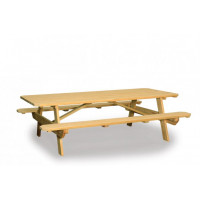 4' x 8' Table with Attached Benches - Pressure Treated Pine